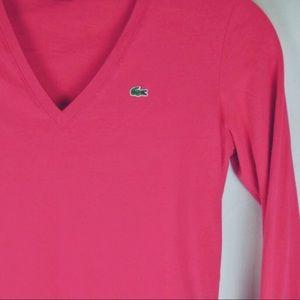Lacoste Pink Long Sleeve V Neck Knit Top